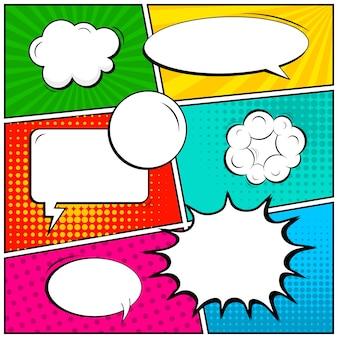 Banner em branco de estilo pop art em quadrinhos