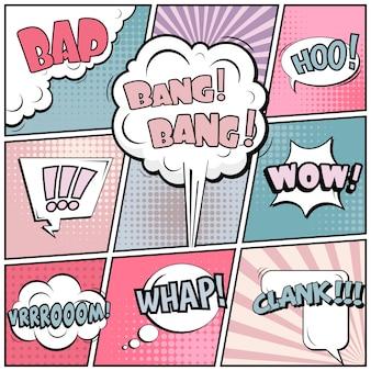 Banner em branco de estilo pop art em quadrinhos.