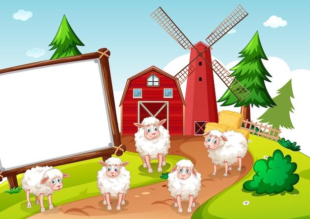 Banner em branco em cena de fazenda de animais
