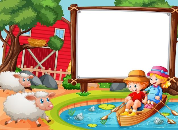 Banner em branco na cena da floresta com crianças remando o barco