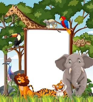 Banner em branco na cena da floresta tropical com animais selvagens