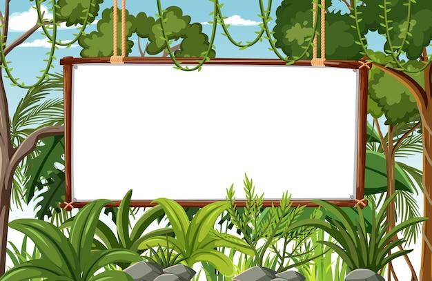 Banner em branco no cenário da floresta tropical