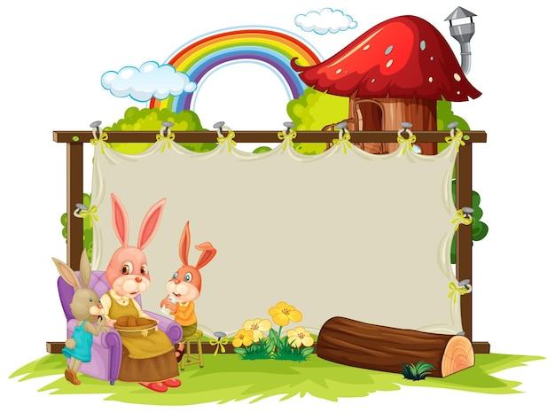 Banner em branco no jardim com coelhos fofos isolados