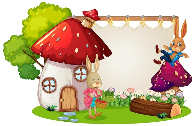Banner em branco no jardim com dois coelhos isolados