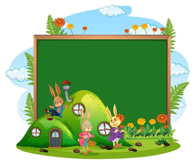 Banner em branco no jardim com família de coelhos isolada