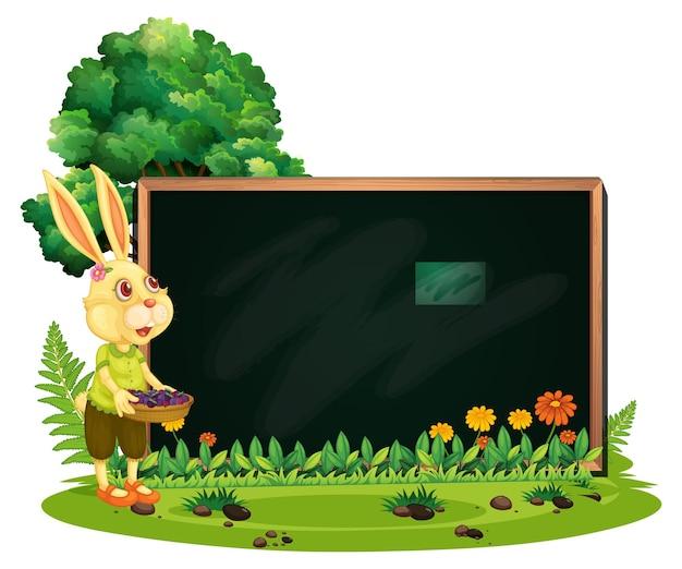 Banner em branco no jardim com um coelho isolado