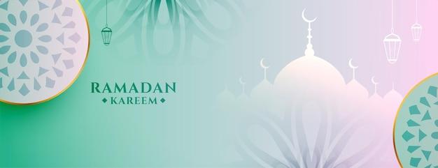 Banner em estilo islâmico lindo ramadan kareem eid mubarak