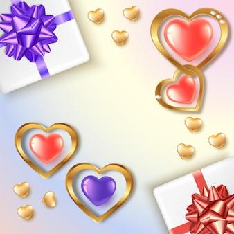 Banner em forma de coração com balões vermelhos e dourados. caixas de presente com arcos.