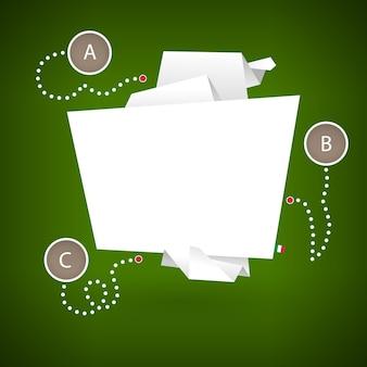 Banner em forma de papel de origami sobre um fundo verde com elementos de infográficos.