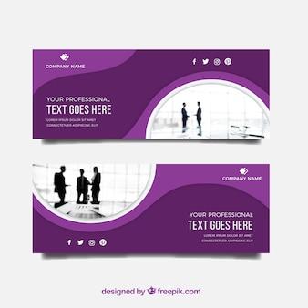 Banner empresarial moderno com design plano