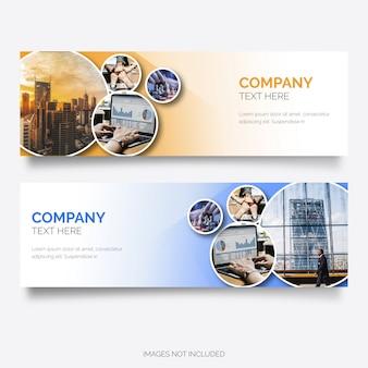 Banner empresarial moderno com formas de círculo