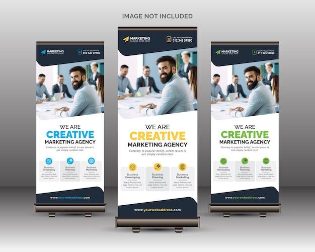Banner empresarial moderno roll up signage modelo standee design minimal