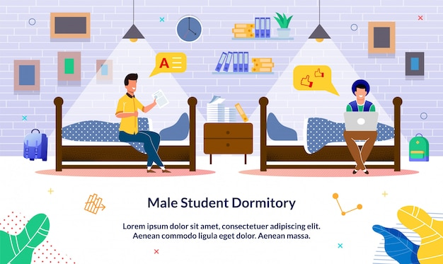 Banner escrito estudante masculino dormitório, desenhos animados.