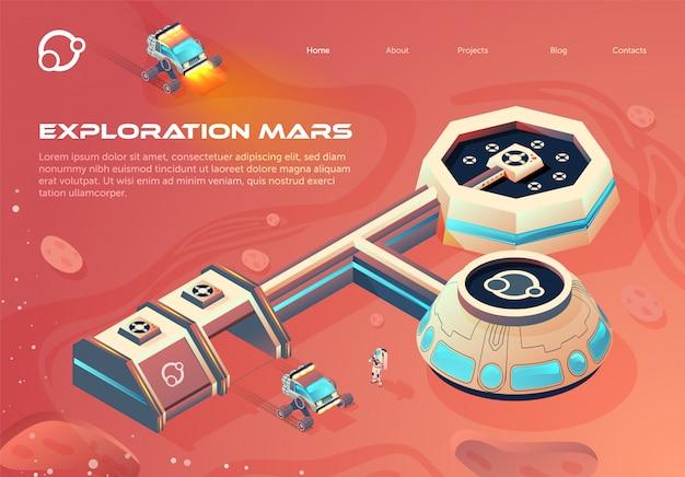 Banner espaço colonização infographics cartoon.