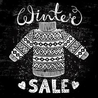Banner especial de inverno, etiqueta com pulôver de lã ou suéter de malha