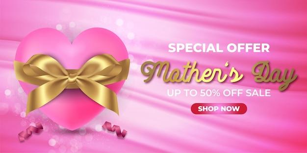 Banner especial do dia das mães com desconto de 50 na venda com formato personalizado branco e desconto na etiqueta rosa