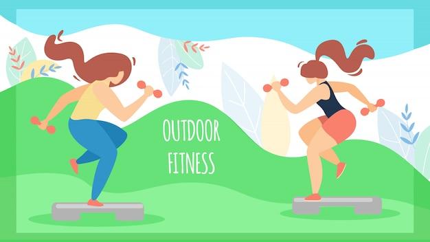 Banner esporte para mulheres inscription fitness ao ar livre