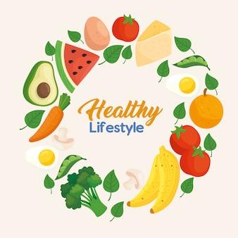 Banner estilo de vida saudável, com quadro circular de vegetais, frutas e alimentos Vetor Premium