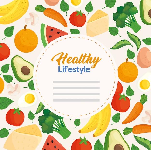 Banner estilo de vida saudável, com vegetais e frutas, conceito de alimentação saudável