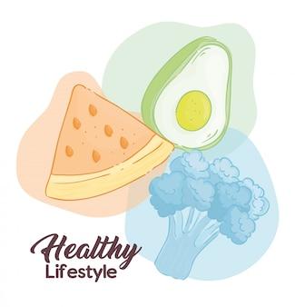 Banner estilo de vida saudável, vegetais e frutas, conceito de comida saudável