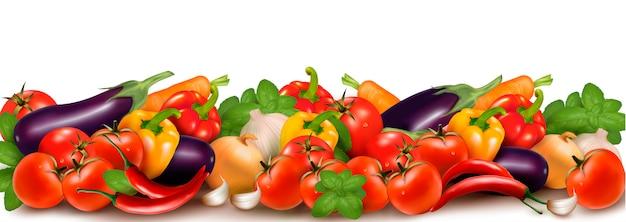 Banner feito de legumes coloridos frescos.