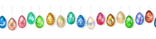 Banner feito de ovos de páscoa realistas pendurados em várias cores com decoração colorida em branco