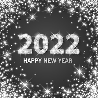 Banner feliz ano novo 2022 com pó de prata, efeito cintilante e brilhante, formato vetorial