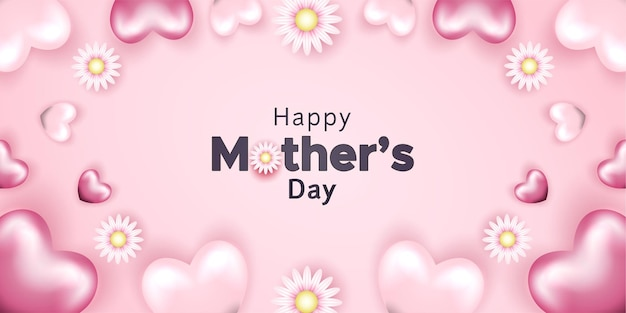 Banner feliz dia das mães com flores e formas de lareira realistas