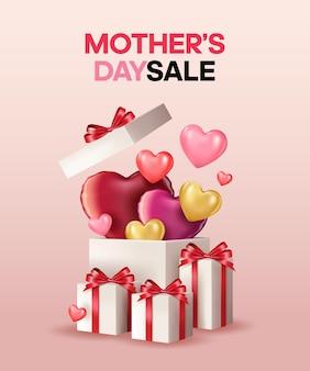 Banner feliz dia das mães com grande caixa de presente e balões em forma de coração