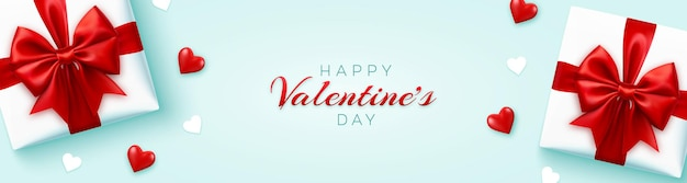 Banner feliz dia dos namorados com caixas de presente