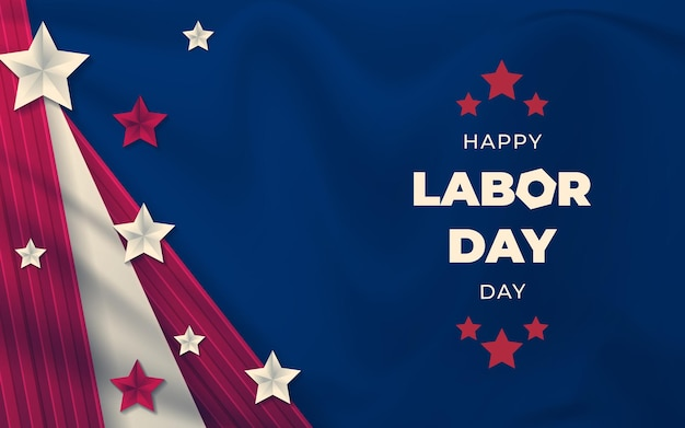 Banner feliz do dia do trabalho, fundo patriótico americano