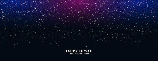 Banner feliz do diwali com brilhos caindo
