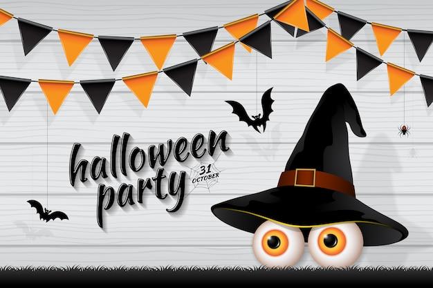 Banner feliz festa de halloween truque ou tratar os olhos