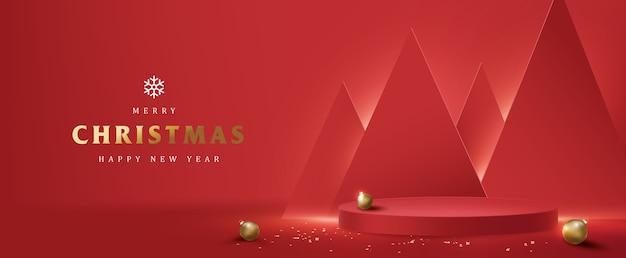 Banner feliz natal com display de produto em formato cilíndrico