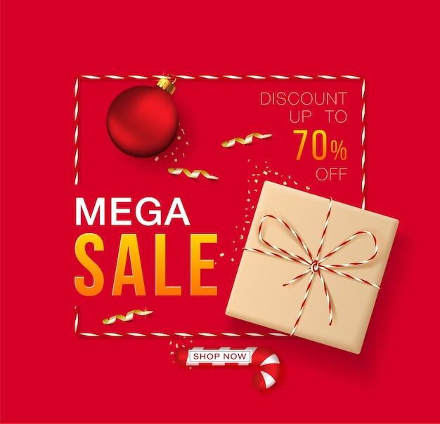 Banner feliz natal e ano novo para mega venda e desconto