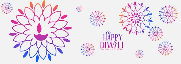Banner festival colorido decorativo feliz diwali