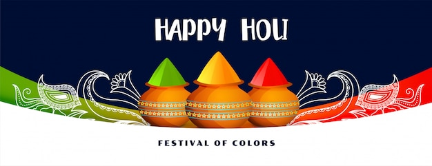 Banner festival colorido feliz holi com pote de cores