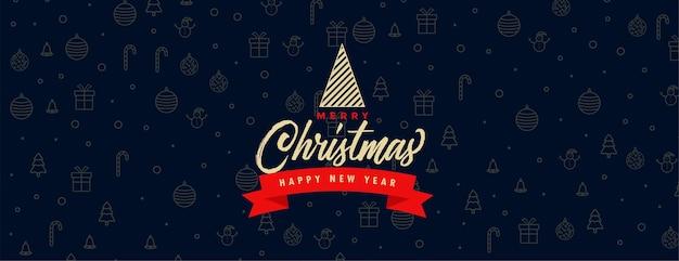 Banner festival de feliz natal com padrão de elementos de natal