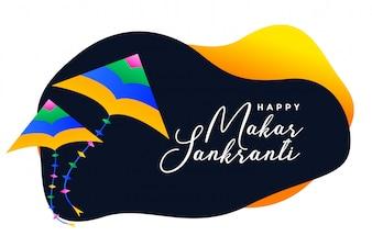 Banner festival de Makar sankranti com asas a voar