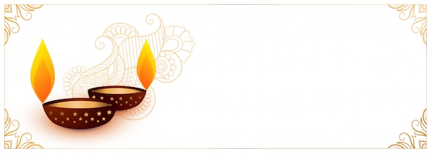Banner festival diwali branco com dois diya