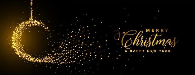 Banner festival dourado de bola de natal feliz