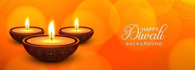 Banner festival feliz diwali com colorido