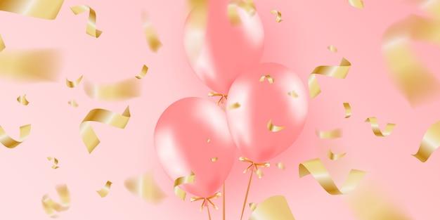 Banner festivo com balões de hélio rosa.