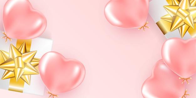 Banner festivo com balões de hélio rosa