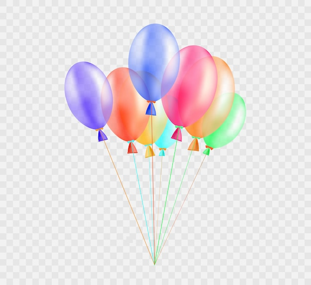 Banner festivo com balões em fundo transparente