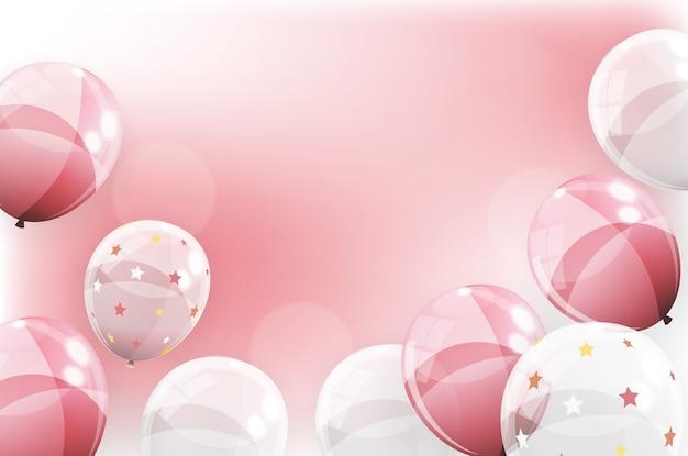 Banner festivo com balões rosa.