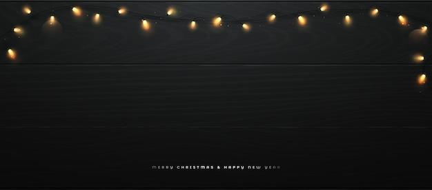 Banner festivo com luzes brilhantes de natal