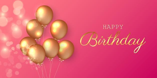 Banner festivo de aniversário com balões de hélio.