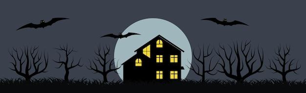 Banner festivo de feliz dia das bruxas com uma casa solitária e morcegos em um fundo de lua cheia à noite. ilustração vetorial.