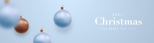 Banner festivo de feliz natal e feliz ano novo